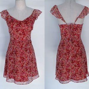 MNG Mango Red Floral Flutter Sleeve Dress